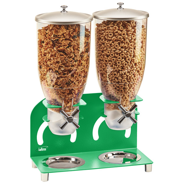 """Cal-Mil 3510-2-18 7 Liter Green Double Canister Cereal Dispenser - 12 1/4"""" x 6"""" x 18 1/2"""" Main Image 1"""