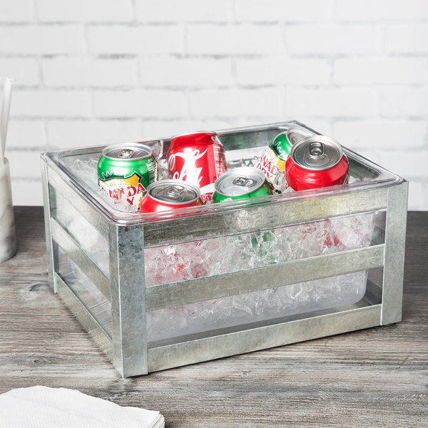 "Cal-Mil 3594-10 Galvanized Metal Ice Housing - 14"" x 10"" x 6"" Main Image 10"