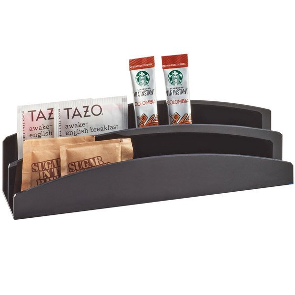 "Cal-Mil 3580-13 Black Extra Wide Plastic Packet Organizer - 9 1/2"" x 2"" x 2 3/4"""