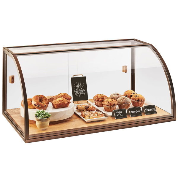 """Cal-Mil 3611 Sierra Arched Sliding Door Full-Service Vintage Bakery Display Case with Wood Base - 36"""" x 19 1/2"""" x 17 1/4"""""""