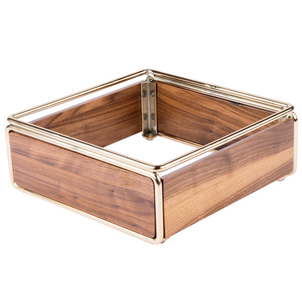 "Cal-Mil 3367-46 Mid-Century Walnut Cold Concept Cooling Base with Brass Frame - 12"" x 12"" x 4 1/2"""