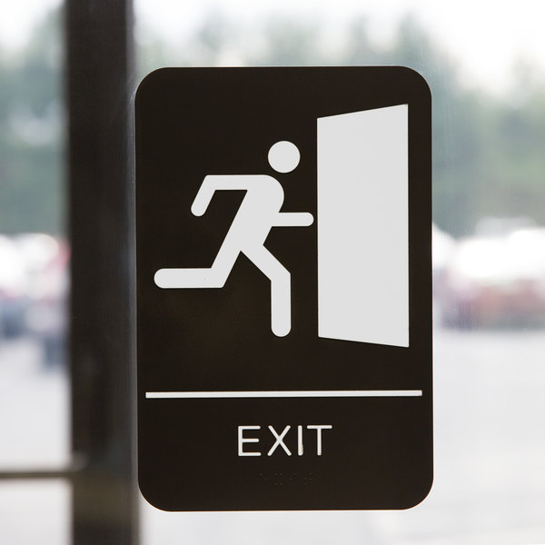 """ADA Exit Sign with Braille - Black and White, 9"""" x 6"""""""