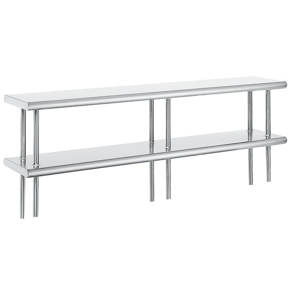 """Advance Tabco ODS-15-96 15"""" x 96"""" Table Mounted Double Deck Stainless Steel Shelving Unit"""