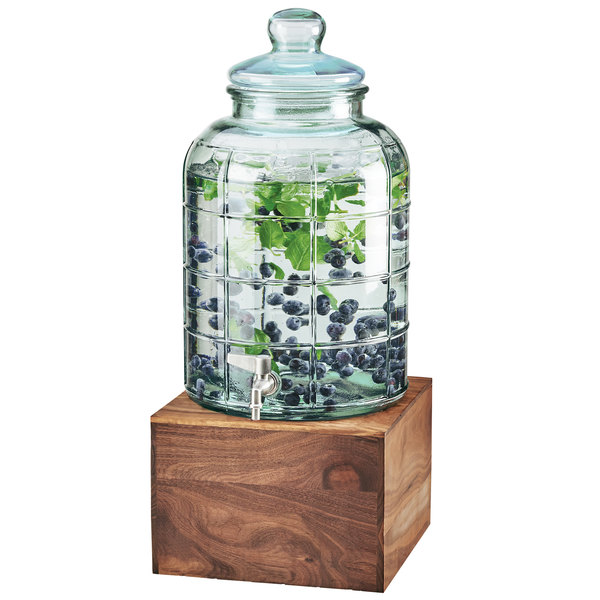 Cal-Mil 3568-2-78 Mid-Century 2 Gallon Glass Beverage Dispenser with Walnut Base and Ice Chamber Main Image 1