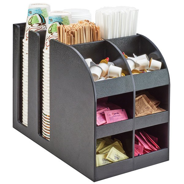 Cal-Mil 3577 Classic Black Bulk Cup, Lid and Condiment Organizer
