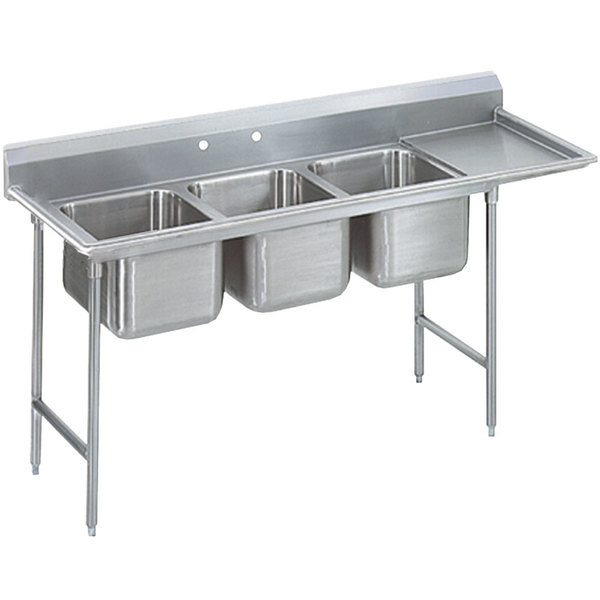 """Advance Tabco T9-3-54-18R Regaline Three Compartment Stainless Steel Commercial Sink with Right Drainboard - 77"""" Long, 16"""" x 20"""" x 12"""" Compartments"""