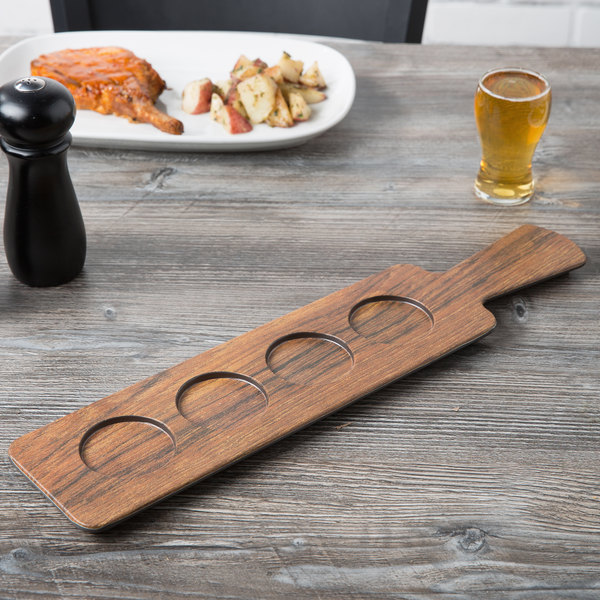 "Cal-Mil 3625-47M 4 Section Faux Wood Melamine Tasting Paddle - 18"" x 4"""