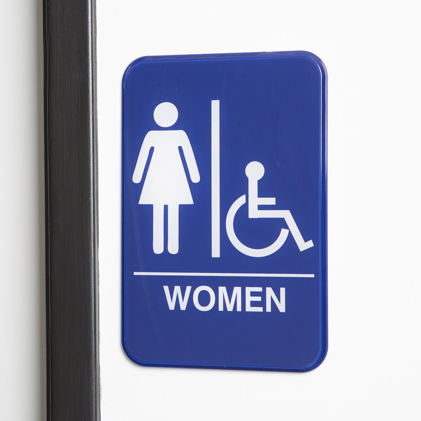 "Handicap Accessible Women's Restroom Sign - Blue and White, 9"" x 6"""