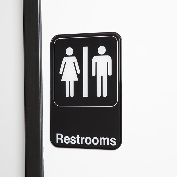 """Restrooms Sign - Black and White, 9"""" x 6"""""""