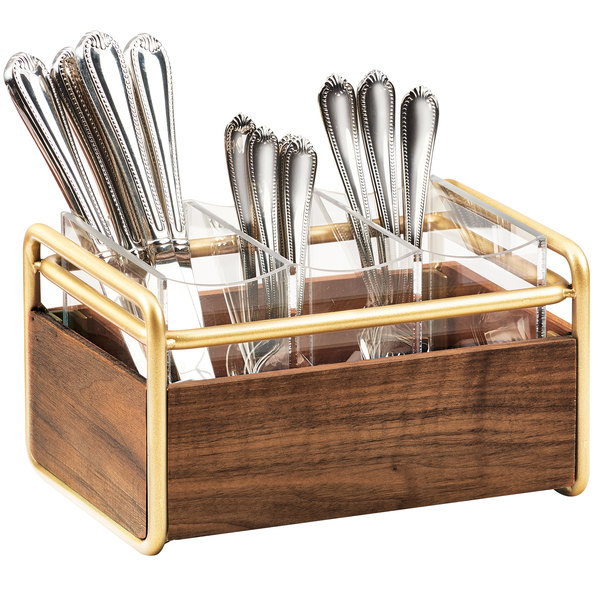 "Cal-Mil 3700-46 Mid-Century 3 Compartment Wood Flatware Organizer with Brass Accents - 9 1/2"" x 6 1/2"" x 5 1/2"""