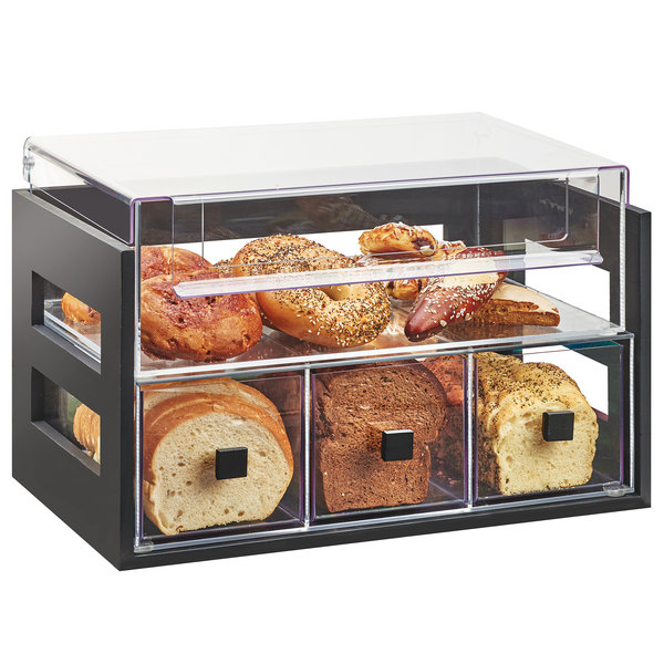 "Cal-Mil 3624-96 Midnight Bamboo 2 Tier Bread Display Case - 20 1/8"" x 12 3/4"" x 13 1/8"" Main Image 1"