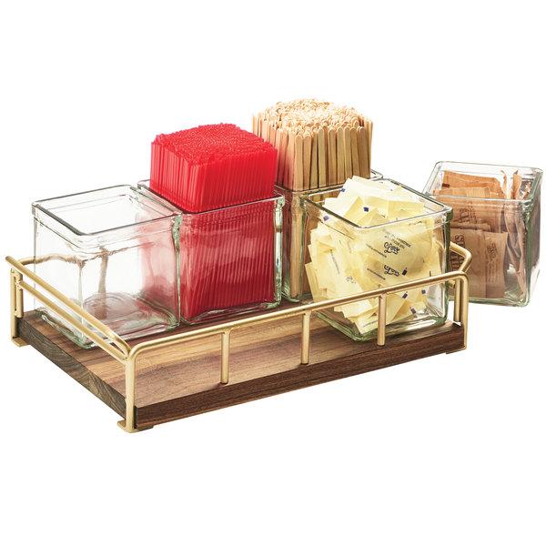 "Cal-Mil 3713-46 Mid-Century 13 1/2"" x 8 1/2"" x 5"" Jar Organizer with Brass Frame"