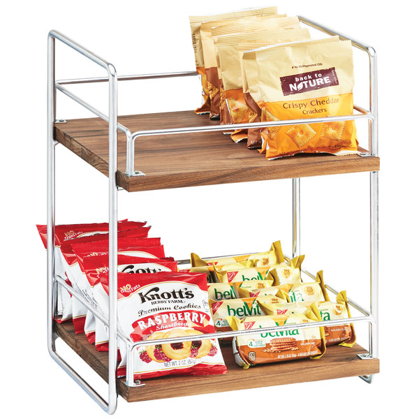 """Cal-Mil 3704-2-49 Mid-Century Wood and Chrome Two Tier Merchandiser - 13"""" x 12"""" x 16 1/2"""""""