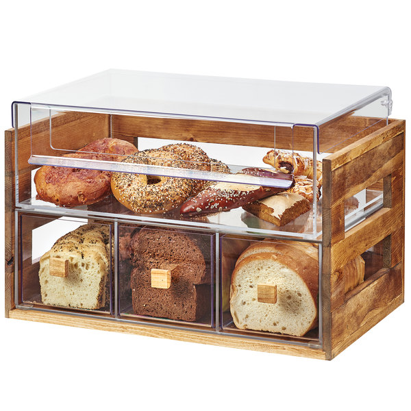 """Cal-Mil 3624-99 Madera Reclaimed Wood 2 Tier Bread Display Case - 20 1/8"""" x 12 3/4"""" x 13 1/8"""""""