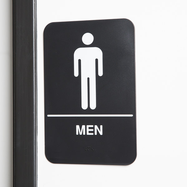 """Black and White Unisex Restroom Sign with Braille 9 x 6/"""" ADA Restroom Sign"""
