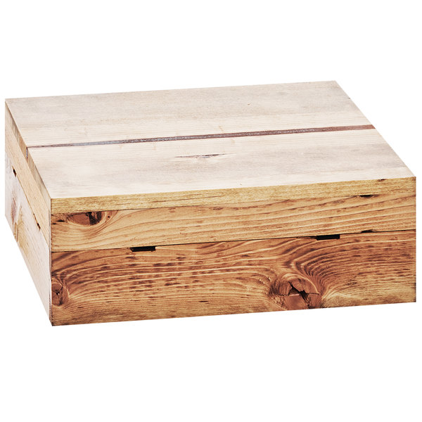 """Cal-Mil 3628-7-99 Madera Reclaimed Wood Square Crate Riser - 12"""" x 12"""" x 7"""""""