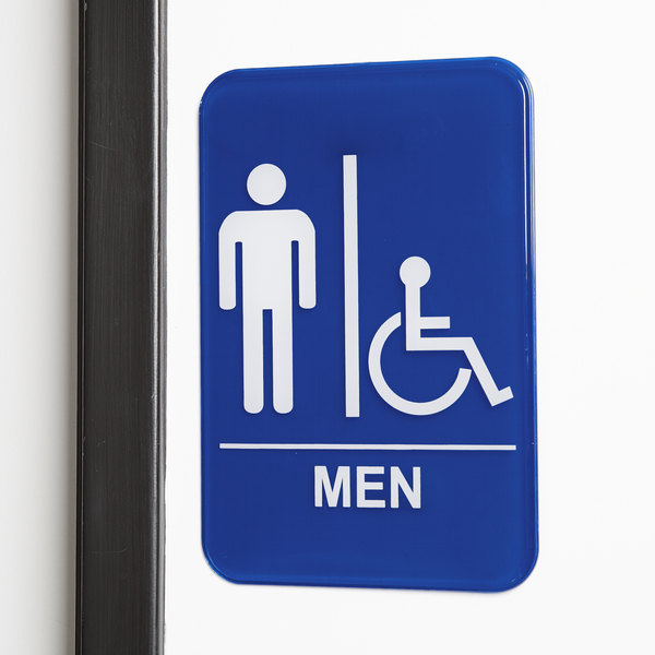 """Handicap Accessible Men's Restroom Sign - Blue and White, 9"""" x 6"""""""