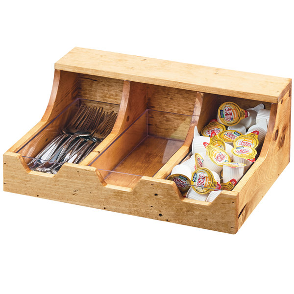 "Cal-Mil 3613-3-99 Madera 3 Section Reclaimed Wood Condiment Organizer - 13 3/4"" x 10"" x 5 1/4"""