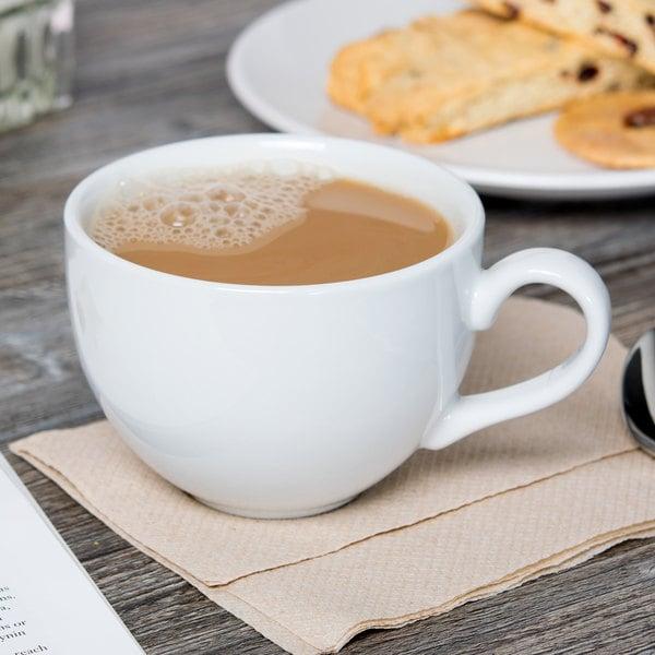 Tuxton BPF-1201 12 oz. Porcelain White China Cappuccino Cup - 24/Case Main Image 4