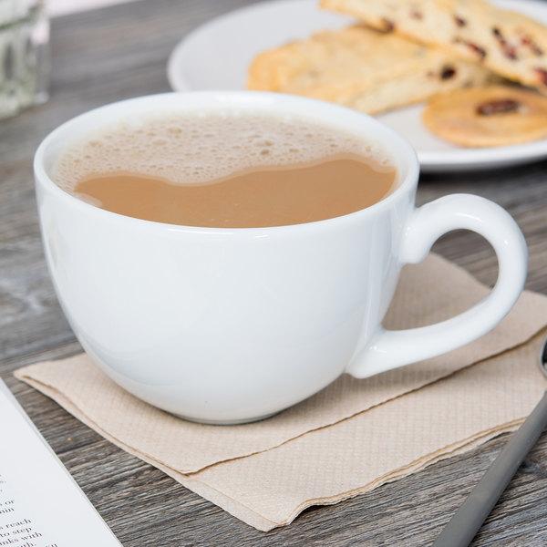 Tuxton BPF-1601 16 oz. Porcelain White China Cappuccino Cup - 24/Case Main Image 4