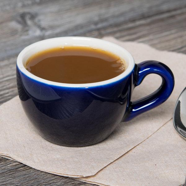 Tuxton B2F-0301 3 oz. Cobalt China Cappuccino / Espresso Cup - 36/Case Main Image 4