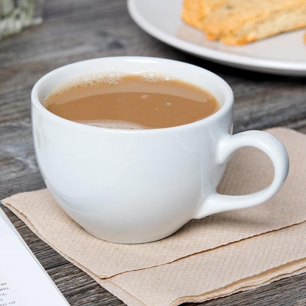 Tuxton BPF-0801 8 oz. Porcelain White China Cappuccino Cup - 24/Case Main Image 4