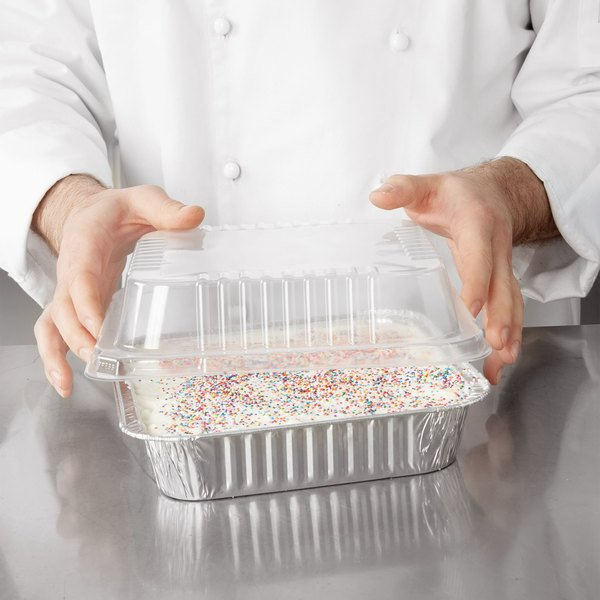 """Durable Packaging 9"""" Square Foil Cake Pan and Lid - 25/Pack"""