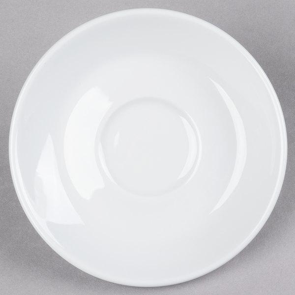 "Tuxton BPE-0451 4 5/8"" Porcelain White Cappuccino China Saucer - 24/Case Main Image 1"
