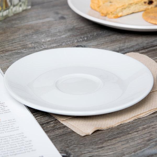 "Tuxton BPE-0631 Duratux 6 3/8"" Porcelain White Cappuccino China Saucer - 24/Case"