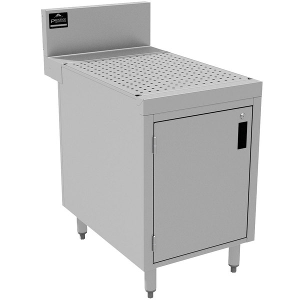 """Advance Tabco PRSCD-24-18-M Prestige Series Enclosed Stainless Steel Drainboard Cabinet with Door and Shelf - 18"""" x 30"""" Main Image 1"""