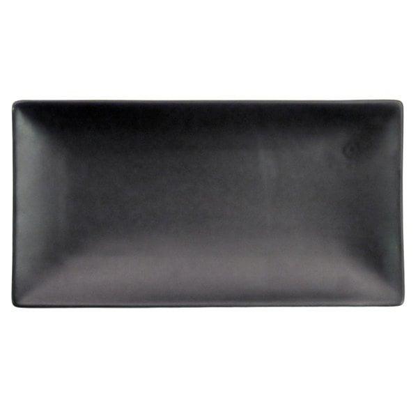 """CAC 666-13BK 11 1/2"""" x 6 1/2"""" Japanese Style Rectangular China Plate - Black Non-Glare Glaze - 12/Case"""