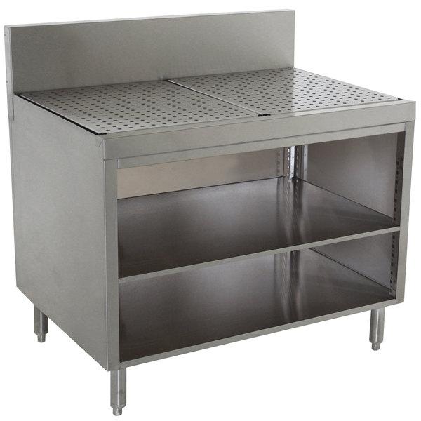 "Advance Tabco PRSCO-19-24-M Prestige Series Open Stainless Steel Drainboard Cabinet with Shelf - 24"" x 25"""