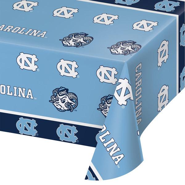 "Creative Converting 323272 54"" x 108"" University of North Carolina Plastic Table Cover - 12/Case"