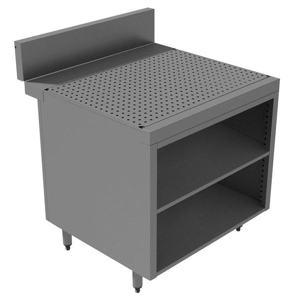 "Advance Tabco PRSCO-24-30-M Prestige Series Open Stainless Steel Drainboard Cabinet with Shelf - 30"" x 30"""