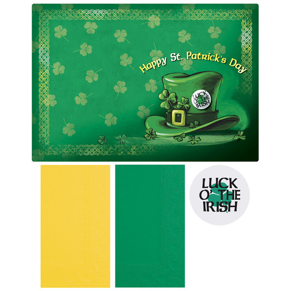 """Hoffmaster 856747 10"""" x 14"""" St. Patrick's Day Placemat Combo Pack - 200/Case"""