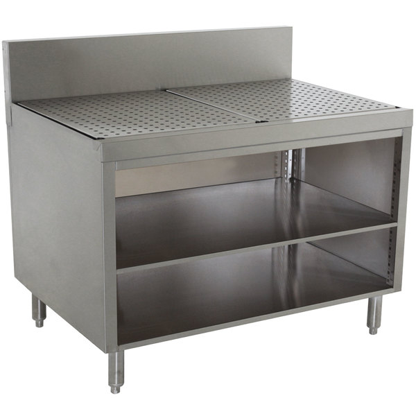 """Advance Tabco PRSCO-19-36-M Prestige Series Open Stainless Steel Drainboard Cabinet with Shelf - 36"""" x 25"""" Main Image 1"""