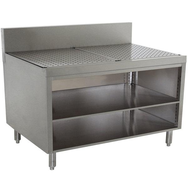 "Advance Tabco PRSCO-19-48-M Prestige Series Open Stainless Steel Drainboard Cabinet with Shelf - 48"" x 25"""