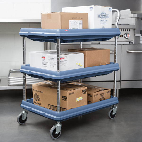 41 Height x 21-1//2 Width x 32-3//4 Length Total Capacity Slate Blue 400 lb 3 Shelves Metro Deep Ledge Series Antimicrobial Polymer Utility Cart with 4 Swivel Casters