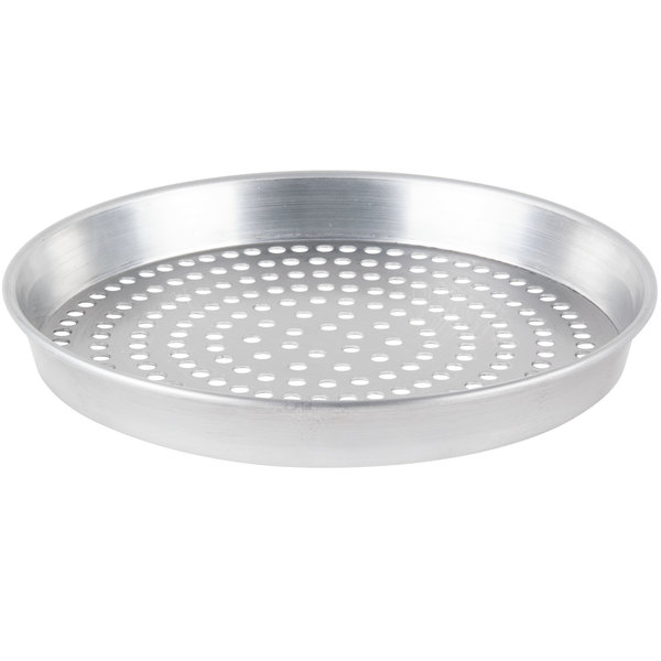 """American Metalcraft SPHA90081.5 8"""" x 1 1/2"""" Super Perforated Heavy Weight Aluminum Tapered / Nesting Pizza Pan"""