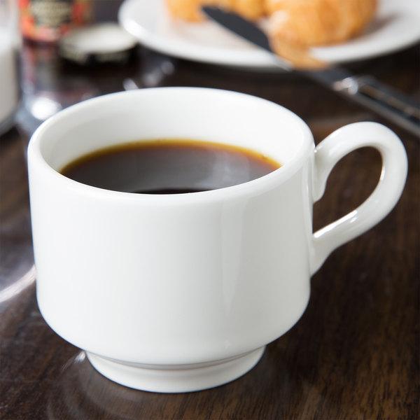 Homer Laughlin 6536000 Pristine 7 oz. Bright White Stackable China Tea Cup - 36/Case