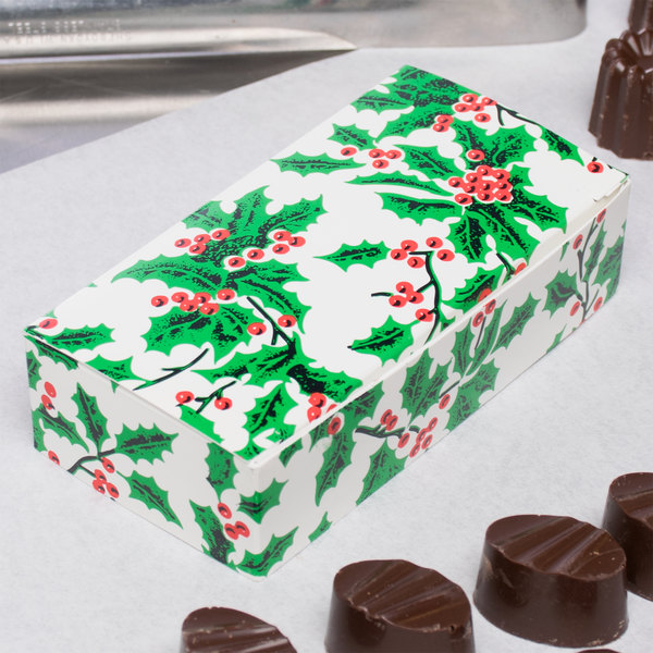 "4 1/2"" x 2 5/16"" x 1 1/8"" 1-Piece 1/4 lb. Holly / Holiday Candy Box - 250/Case Main Image 5"