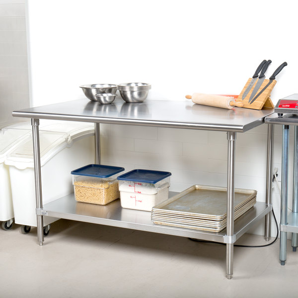 """Advance Tabco SAG-305 30"""" x 60"""" 16 Gauge Stainless Steel Commercial Work Table with Undershelf"""