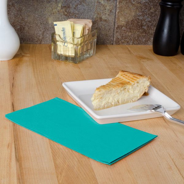 "Teal Paper Dinner Napkins, 2-Ply, 15"" x 17"" - Hoffmaster 180501 - 1000/Case"