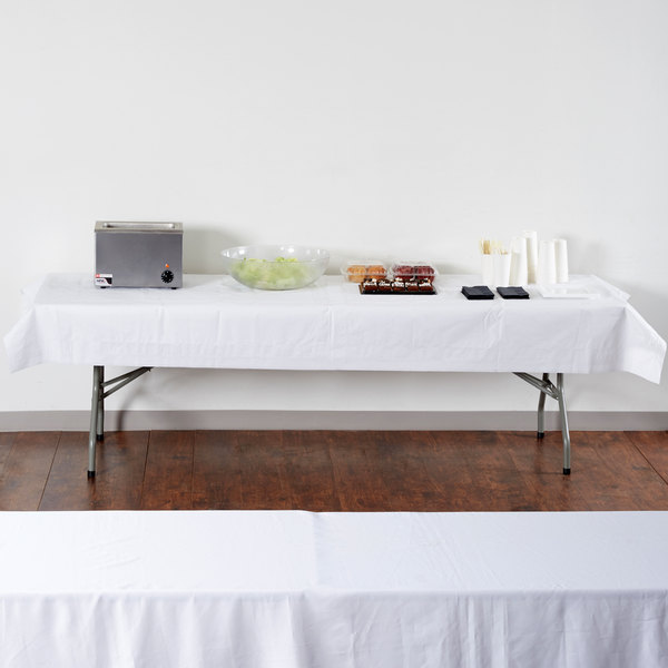 """Hoffmaster 210130 54"""" x 108"""" White Cellutex Tissue / Poly Paper Table Cover - 25/Case"""