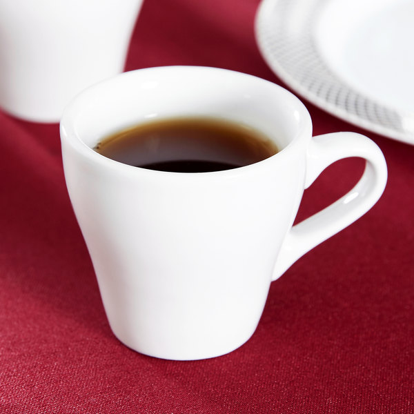 Tuxton BPF-0308 DuraTux 3 oz. Bright White Europa China Espresso Cup - 24/Case