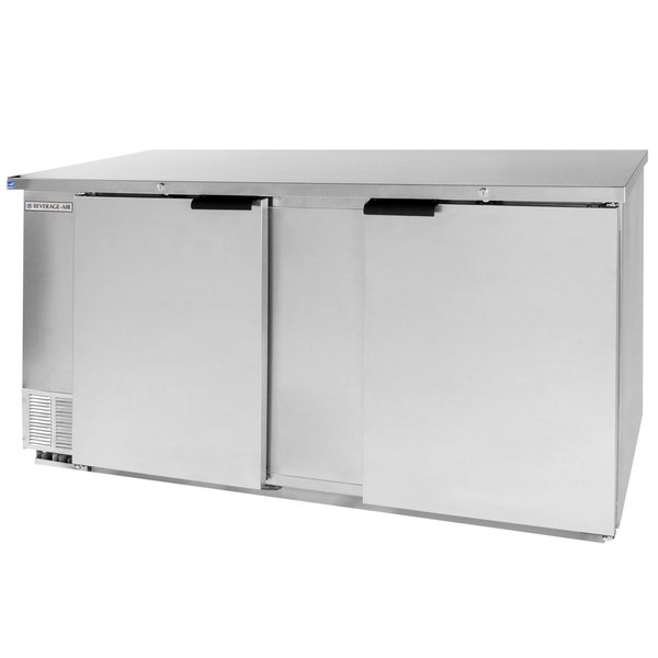 "Beverage-Air BB68-1-SS-WINE 68"" Stainless Steel Solid Door Back Bar Wine Refrigerator"