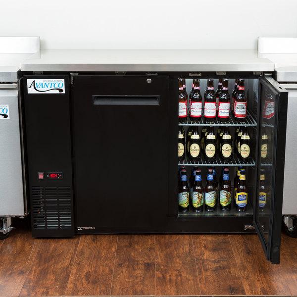 "Avantco UBB-24-48 48"" Narrow Solid Door Back Bar Cooler Stainless Steel Top and LED Lighting"