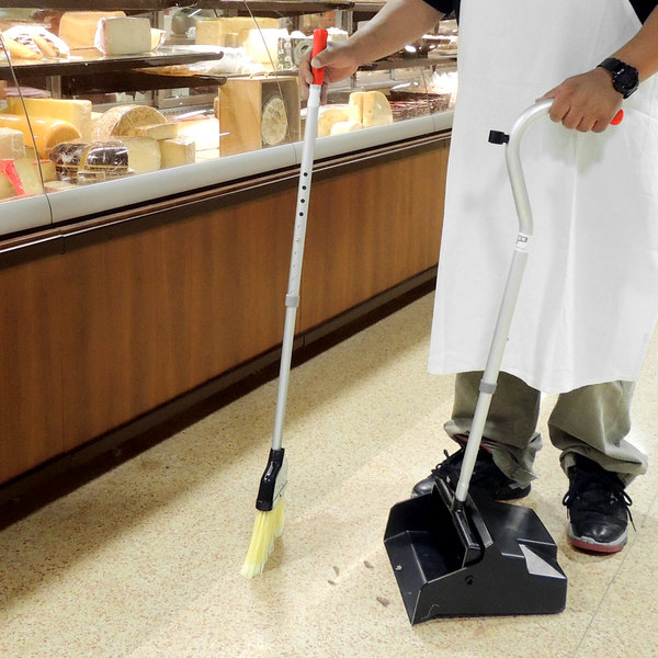 Unger EDTBR Ergo Lobby Dust Pan with Broom - Telescopic Handle