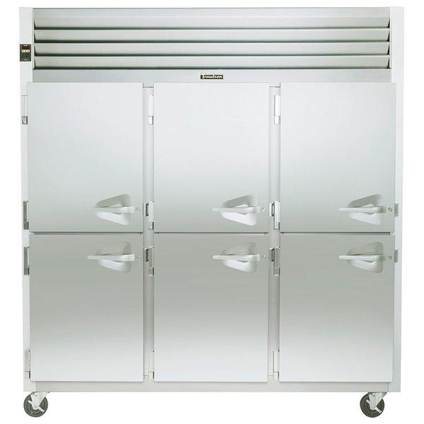 Traulsen G30003 3 Section Half Door Reach In Refrigerator - Left Hinged Doors