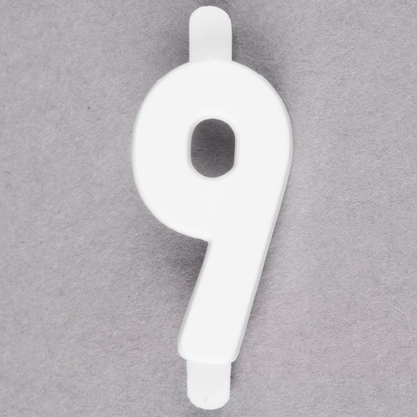 """3/4"""" White Molded Plastic Number 9 Deli Tag Insert - 50/Set"""